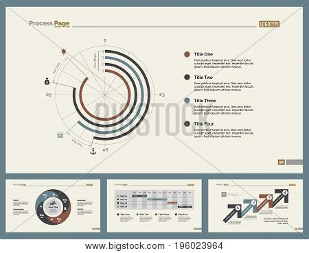 Infographic design set can be used for workflow layout, diagram, annual report, presentation, web design. Business and planning concept with process, timing and doughnut charts.