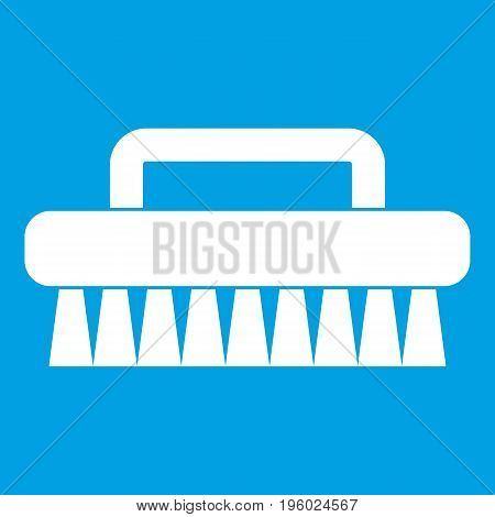 Cleaning brush icon white isolated on blue background vector illustration
