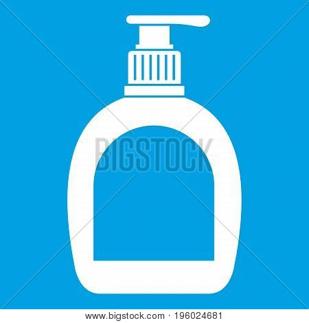 Bottle with liquid soap icon white isolated on blue background vector illustration