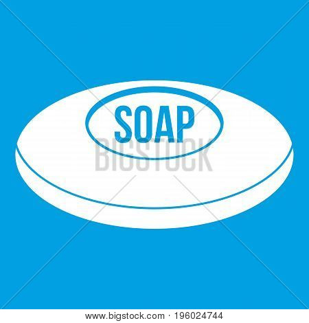 Soap icon white isolated on blue background vector illustration