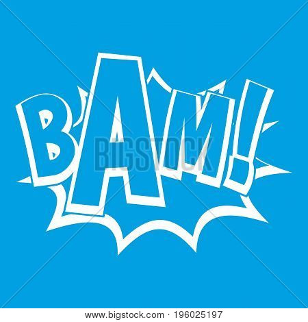 BAM, comic book bubble icon white isolated on blue background vector illustration