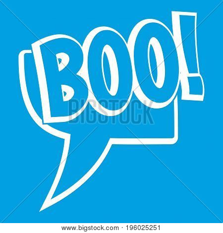 BOO, comic text speech bubble icon white isolated on blue background vector illustration