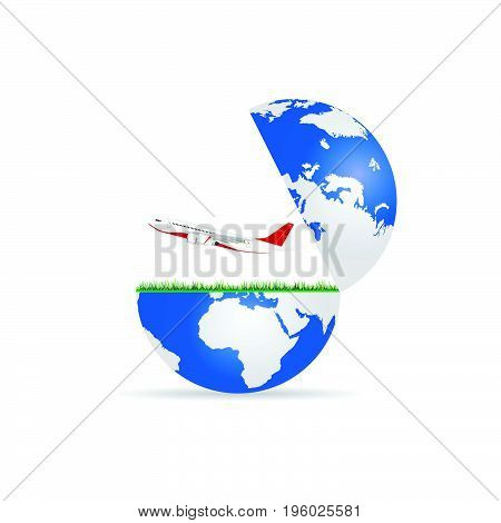 globe with airplane illustration in colorful on white