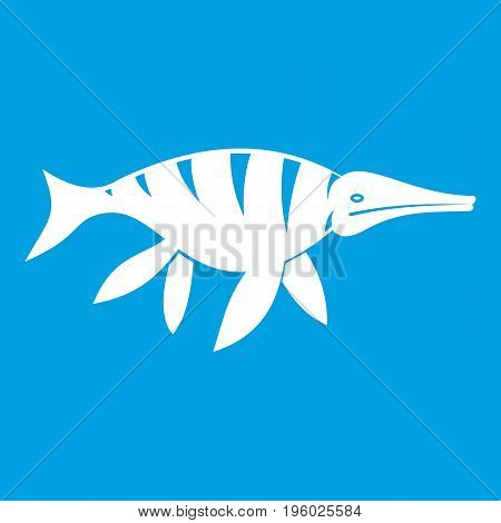 Aquatic dinosaur icon white isolated on blue background vector illustration