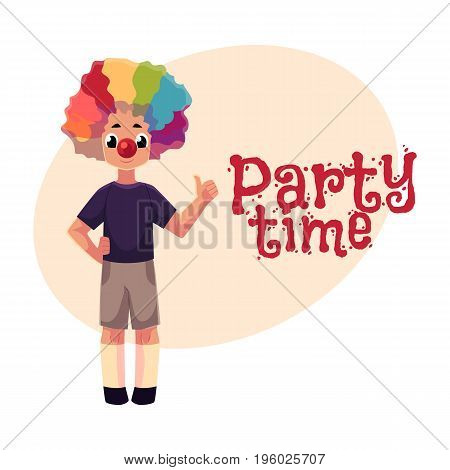 Little boy wearing clown nose and rainbow colored wig showing thumb up, , cartoon style invitation, banner, poster, greeting card design. Party invitation, advertisement, boy wearing clown red nose