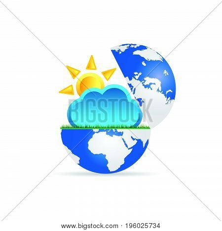 Globe With Sun And Cloud Illustration