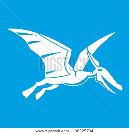 Pterosaurs dinosaur icon white isolated on blue background vector illustration