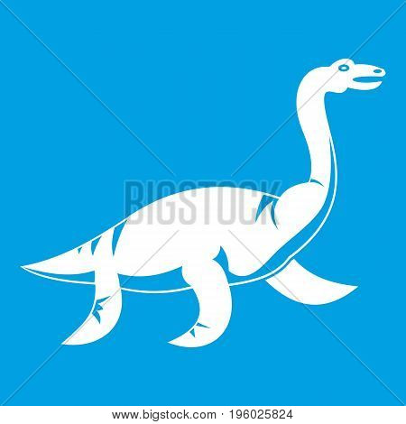 Elasmosaurine dinosaur icon white isolated on blue background vector illustration