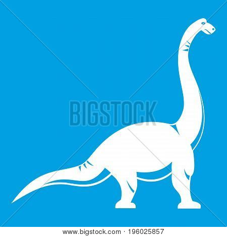 Brachiosaurus dinosaur icon white isolated on blue background vector illustration