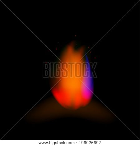 Realistic fire on a black background vector illustration