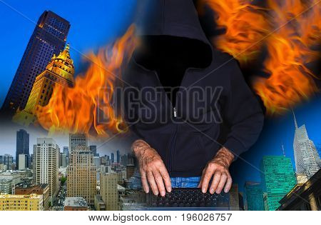 Hacker using laptop against abstract city. Collage