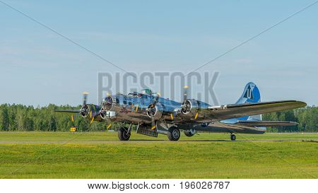 PETERBOROUGH ON CANADA - July 16 2017: A vintage B-17 Flying Fortress bomber taxis to runway at Peterborough airport. The airplane is part of Canada 150th anniversary celebrations.