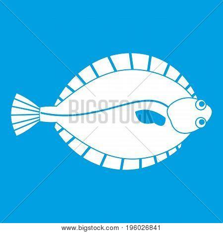 Flounder icon white isolated on blue background vector illustration