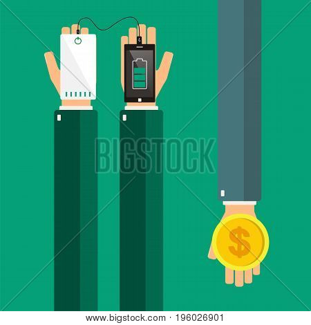Hands holding a smartphone and powerbank. Buying powerbank. Vector illustration.