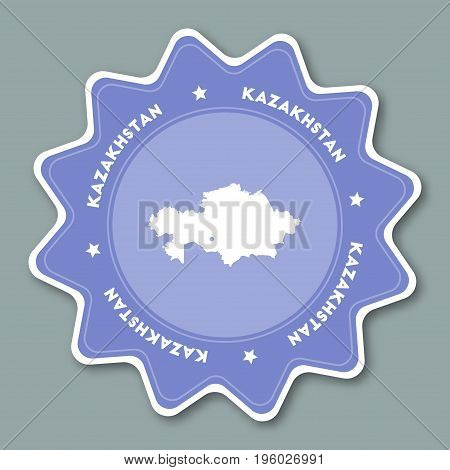 Kazakhstan Map Sticker In Trendy Colors. Star Shaped Travel Sticker With Country Name And Map. Can B
