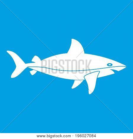 Shark fish icon white isolated on blue background vector illustration