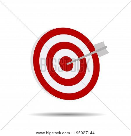 Direct hit on target arrow on a white background vector illustration
