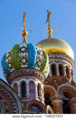 The Church of the Savior on Blood - architectural details and artistic elements of the facade, St. Petersburg, Russia