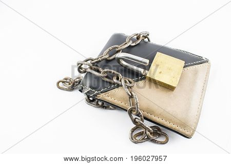 Wallet with chain and open padlock on a white background.