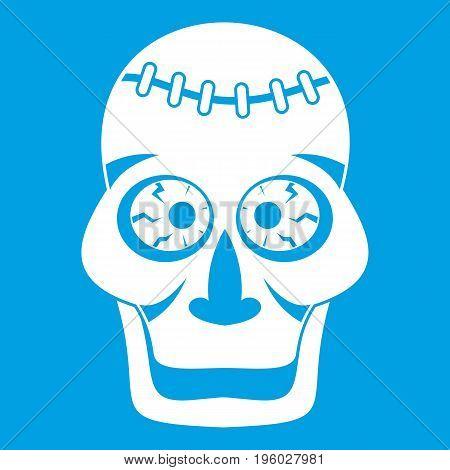 Skull icon white isolated on blue background vector illustration