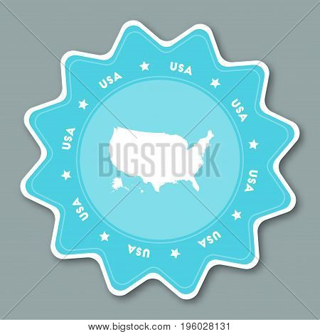 United States Map Sticker In Trendy Colors. Star Shaped Travel Sticker With Country Name And Map. Ca