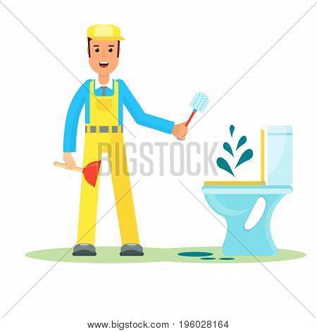 Service Man Repairs Toilet