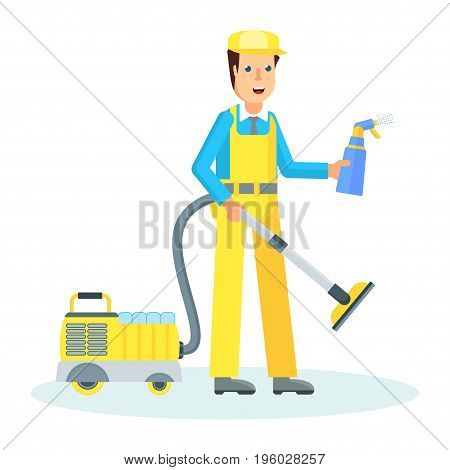 Service Man With Hoover