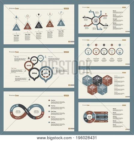 Infographic design set can be used for workflow layout, diagram, annual report, presentation, web design. Business and marketing concept with process and pie charts.