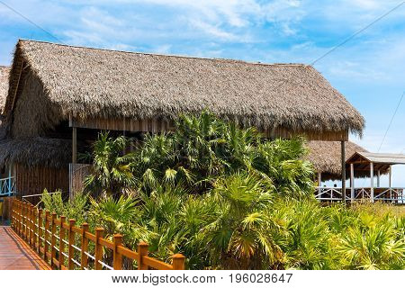 Building On The Beach, Cayo Largo, Cuba. Copy Space For Text.