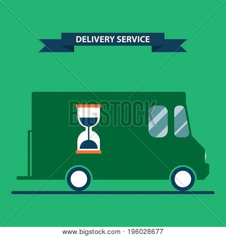 Fast delivery truck. Flat style delivery service concept vector illustration