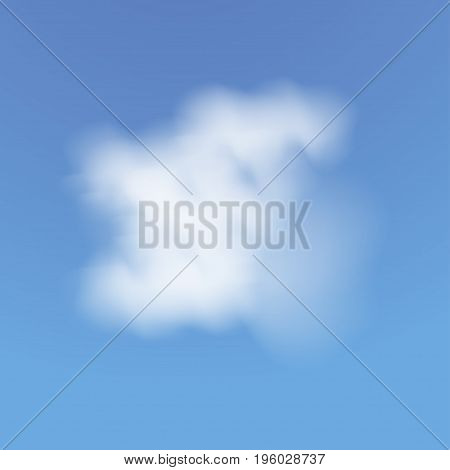 Realistic cloud. Blue sky with clouds. Vector illustration background