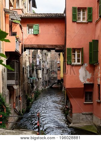 Waterway in the center of Bologna (Italy)