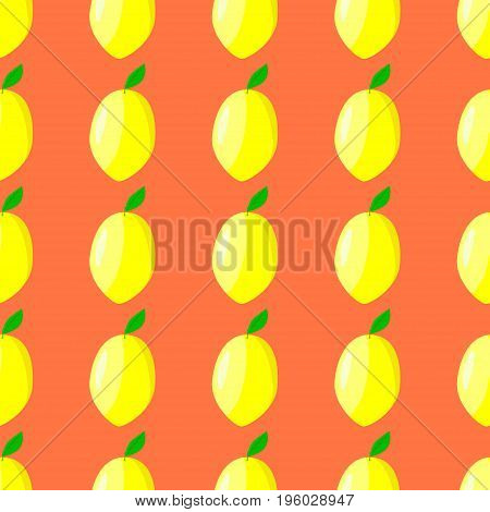 Lemon seamless vector pattern food, citrus, natural