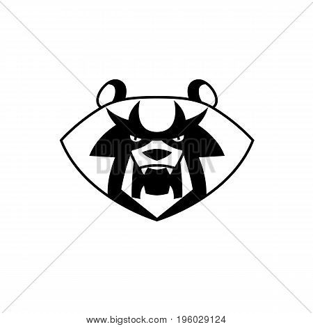 panda Bear head with bared fangs stylized growls - useful for logos design T-shirts labels and mascots