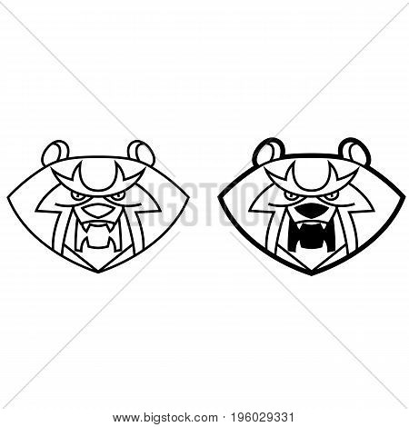 Bear head with bared fangs stylized growls - useful for logos design T-shirts labels and mascots