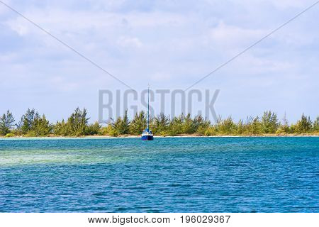 Landscape Of The Island Of Cayo Largo, Cuba. Copy Space For Text.
