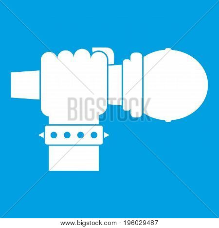 Hand microphone icon white isolated on blue background vector illustration