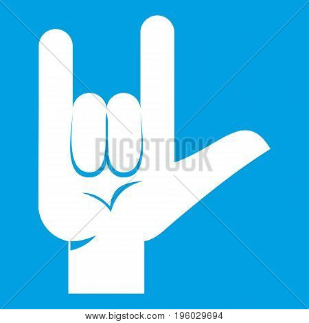 Rock gesture icon white isolated on blue background vector illustration