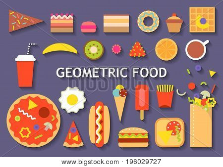Vector set of various geometric food. Colorful fast food ice cream fruits desserts on dark blue background.
