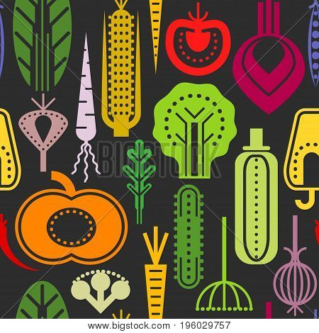 Seamless trendy pattern with color geometric vegetables on black background. For vegan restaurant menu design posters packaging tablecloth.