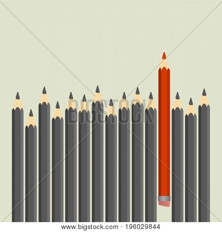 Leadership and teamwork concept. Row of black pencils with red one. Vector illustration