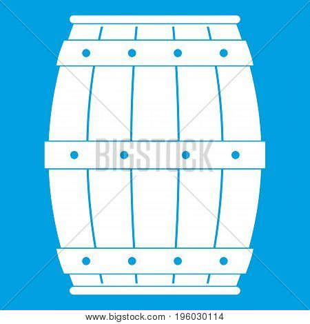 Wooden barrel icon white isolated on blue background vector illustration