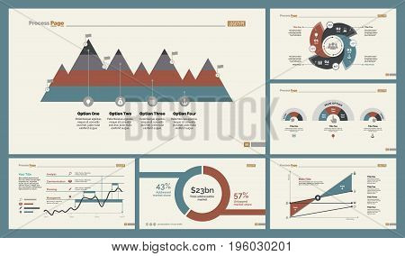 Infographic design set can be used for workflow layout, diagram, annual report, presentation, web design. Business and analytics concept with process, area, line and percentage charts.