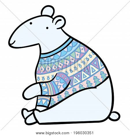 cartoon polar bear in winter multi-colored knitted sweater - Hand vector drawing illustration