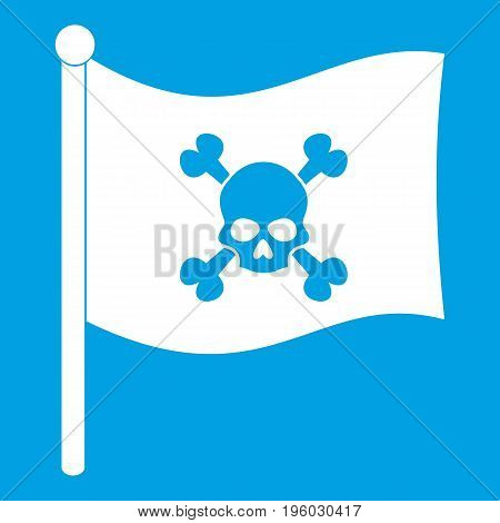 Pirate flag icon white isolated on blue background vector illustration