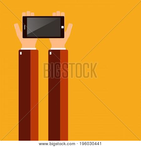 Hands holding a smartphone. Vector illustration. x