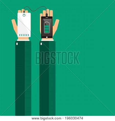 Hands holding a smartphone and powerbank. Vector illustration.