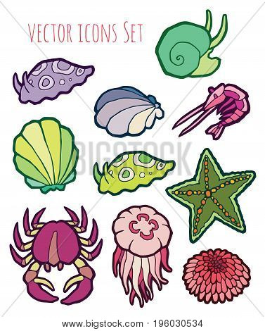 animals - marine life - colorful vector icons set