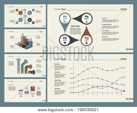 Infographic design set can be used for workflow layout, diagram, annual report, presentation, web design. Business and analytics concept with process, bar, line and percentage charts.