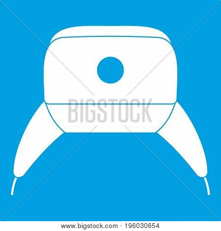 Earflap hat icon white isolated on blue background vector illustration